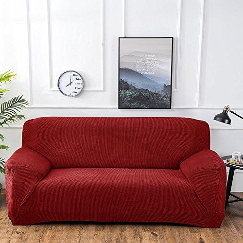 Ssdlrsf coprisedili in tinta unita coprisedili elasticizzati coprivasi lavabili sfoderabili copriscarpe per soggiorno divano angolare 1/2/3-seater (90-300cm), rosso, 3seater 190-230cm