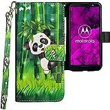 Motorola Moto G6 Hülle, CLM-Tech Tasche aus Kunstleder Wallet Case - Schutzhülle [Standfunktion] [Magnetverschluss] [Kartenfächer] [Handschlaufe] Flip Cover - Bookstyle Handy Flipcase Panda schwarz weiß grün, PU Leder-Tasche für Motorola Moto G6 Lederhülle