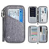 Vemingo Cartera de Viaje Cartera Pasaporte Portadocumentos Familiar con RFID Organizador de Documentos 4 Pasaportes, 13 Tarjetas de Crédito, Carnet de Identidad, Billetes de Avión Hombre Mujer (Azul)