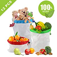 Idefair Reusable Produce Bags,12PCS Washable Mesh Bag Eco Friendly Toy Fruit Vegetable Produce Bags with Drawstrings for Home Shopping Grocery Storage - 3 Various Sizes 12x17In,12x14In,12x8In