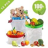 Idefair Sacchetti riutilizzabili, Sacchi in Rete Lavabili da 12 pezzi Eco friendly Sacchetti di frutta verdura prodotti con coulisse per la spesa a domicilio Negozio di alimentari - 3 Varie dimensioni 12x17In, 12x14In, 12x8In