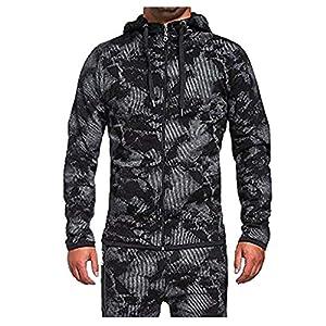Tosonse Bomberjacke Herren Herbst Winter Vintage Zipper Hooded Print Langarm Outdoor Herren Ski Jacken Mantel