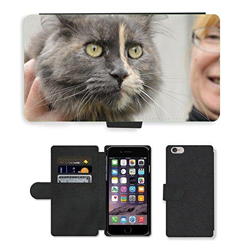 Just Mobile pour Hot Style Téléphone portable étui portefeuille en cuir PU avec fente pour carte//m00138812joli chat futrzak ami Yeux//Apple iPhone 6Plus 14cm