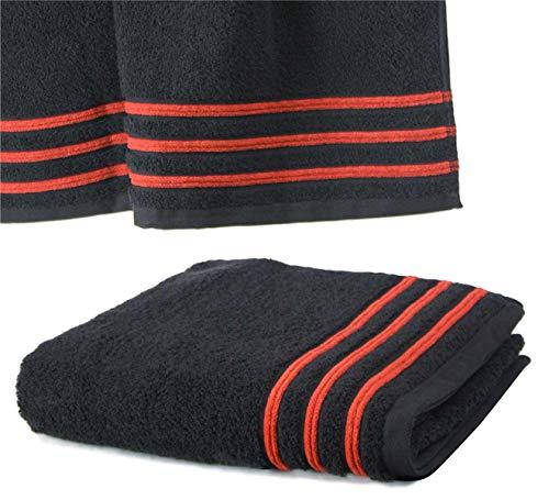 Drap De Douche 70x140 cm 100% Coton - 550 grS/m2 Noir avec Liserets Rouge
