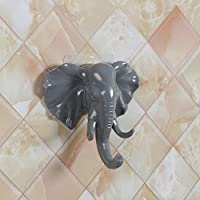 Elephant Head Self Adhesive Wall Hook,Mitlfuny Novelty Kitchen Bathroom Glass Ceramic Brick Stainless Steel Wall Door Decoration Coat Bag Keys Ornaments Towel Hanger Sticky Holder (Gray)