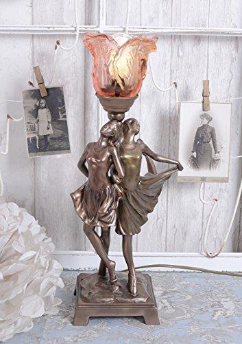 Leuchte Art Deco Tänzerin Tischlampe Glasschirm Tischleuchte Vintage Palazzo Exklusiv - Glasschirm Tischlampe