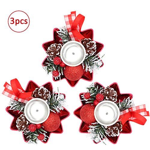 Bibivisa 3X Weihnachten Kerzenhalter, Bereift Tannenzapfen Kerzenständer Dekorativ Rote Beeren Glitzer Ball, Christmas Kerzenlicht Weihnachtskerze Stehen für Weihnachten Tischdeko Advent Deko -