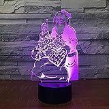 CFLEGEND3D Nachtlicht Santa (Touch + Fernbedienung) LED IllUSBion Tischlampe Flutlicht weiches Licht Statue Kinderzimmer Schlaf Licht dekorative Lichter Party Lichter 7 Farbe USB