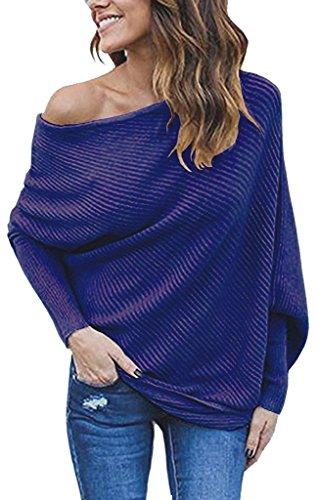 AHOOME Donna Casual Maglietta Pullovers Sweatshirt Tops Sweater Maniche Lunghe Felpa Senza Spalline Maglia T-shirt Tinta Unita Bluse Autunno-Inverno 2017 Blu