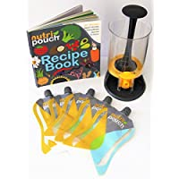 Nutripouch Drinks Reusable Pouch Storage System – Store home Made Juices, Energy Drinks & Smoothies in re-usable pouches - Ideal Nutribullet Accessory, 5 x (8oz) 250ml pouches & 70+ drinks recipe book