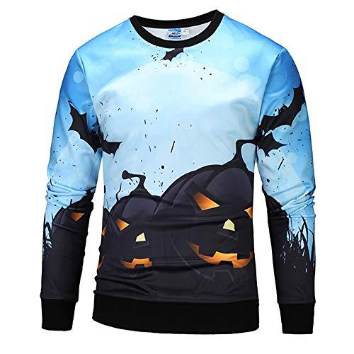 UJUNAOR Damen Herren Halloween Kreative Kürbis Casual Scary Halloween 3D Gedruckt Party Langarm O Hals Top Bluse Blau(Blau,CN S)