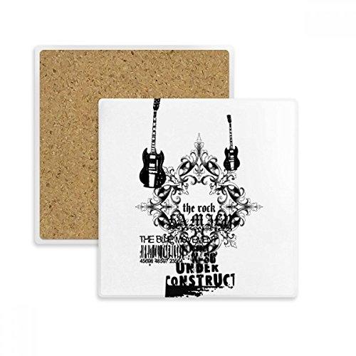 DIYthinker Gitarren-Musik-Gotik-Muster-Quadrat-Untersetzer-Schalen-Becher-Halter Absorbent Stein...