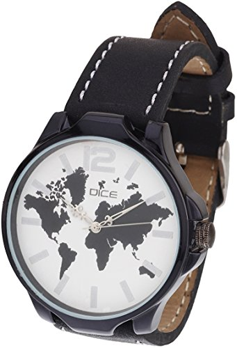 "Dice ""Aura-1514"" Casual Round Shaped Wrist Watch For Men. Fitted with Beautiful White Color Dial and Anti-Allergic Leather Strap"