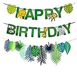 Xunlong Banner de Feliz cumpleaños de Animales de la Selva Decor