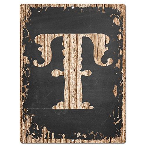 Alphabet Buchstabe T Chic Schild Rustikaler Shabby Vintage Stil Retro-Küche Bar Pub Coffee Shop Wand Decor (Abgerundete Alphabet-buchstaben)