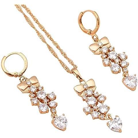 Bling alla Moda da donna Fashion Jewelry Set Bianco Zircone Orecchini placcati oro giallo 18K collane ciondoli Fashion Jewelry