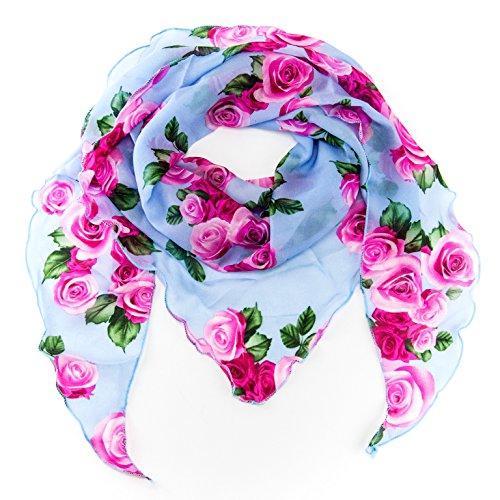 MANUMAR Schal für Damen einfarbig | Hals-Tuch in Rosen blau als perfektes Frühling Sommer Accessoire | Klassischer Damen-Schal | Stola | Mode-Schal | Geschenkidee für Frauen und Mädchen -