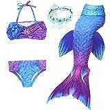 DAXIANG Fille 4pcs Nageoire de Sirene Maillots de Bain Mermaid avec Ailerons Bikini Ensembles (140(8-9 Ans), Violet)