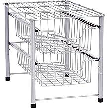 Callas Stackable 2-Tier Steel Sliding Basket Drawer Storage Organizer, Silver,