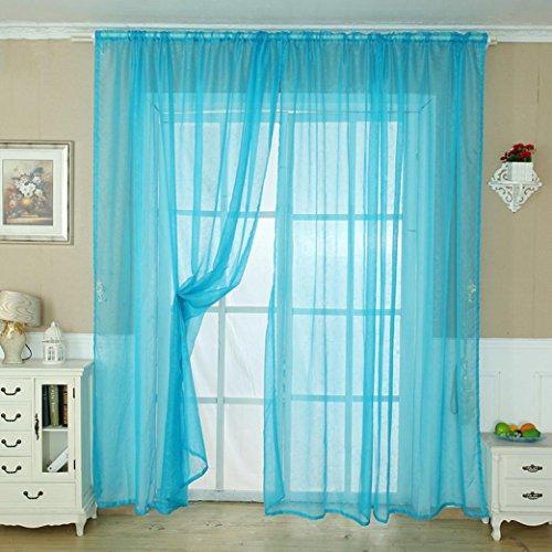 LCLrute 1Pcs Stange durch Einfarbig Tulle Tür Fenstervorhang Drapieren Panel Sheer Schal Volant 200 cm x 100 cm (Blau) Küche Volant Blau