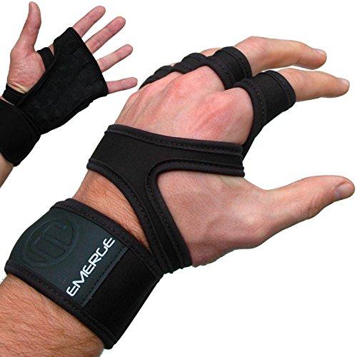 CROSSFIT KLIMMZUG FITNESS-ZUGHILFEN – Starke Sport-Handschuhe Mit Handgelenkstütze – Angenehme Handgelenkbandagen, Maximaler Halt und Griff für WODs – Emerge Grips Schützen Dich Vor Blasen, Hornhaut (Pink, Large)