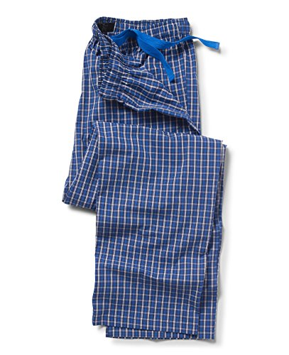 Savile Row Men's Navy Blue White Check Lounge Pants Navy Blue White