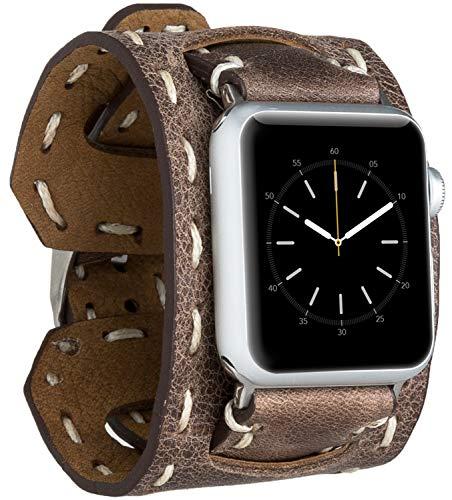 Burkley Leder Armband geeignet für Apple Watch 1/2 / 3/4 Uhrenarmband in breiter Ausführung mit Dornverschluss passned für die Apple Watch 42/44mm (Antik Braun)