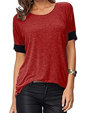 Damen T-Shirt O-Ansatz Kurzarm Rundkragen Bunt Atmungsaktiv Mode Tops