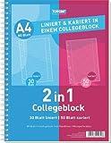 10x (2x 5er Pack) Duo Collegeblock DIN A4 50 Bl. kariert 30 Bl liniert
