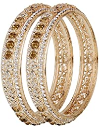 Cardinal Traditional American Diamond Gold Plated Antique Bangle Set Latest Design Jewellery For Women/ Girl