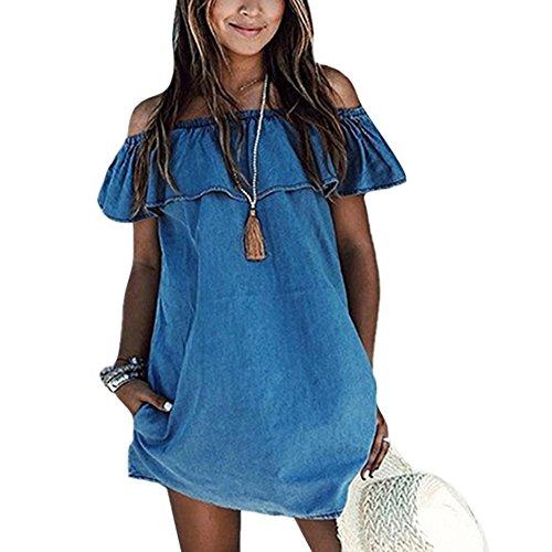 Damen Carmenausschnitt Jeans Kleid Rüschen Rückenfrei Schulterfrei Strandkleid Elegant Wort Kragen (Rüschen Kleid)