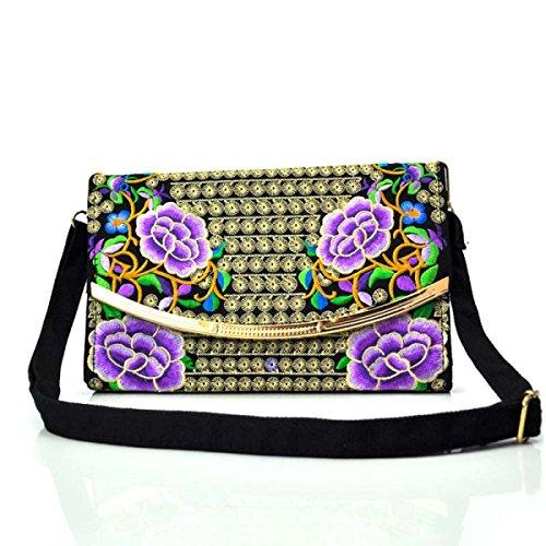 La Signora Messenger Bag Borsa A Tracolla Ricamo,Blue purple