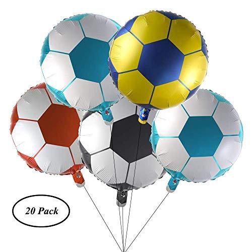 18'Football Foil Balloons SAIYU 20 piezas Mylar Helium Foil Balloons Aluminium Balloons Globos de fútbol para niños Fiesta de cumpleaños Decoración Globos de la copa mundial, multicolor