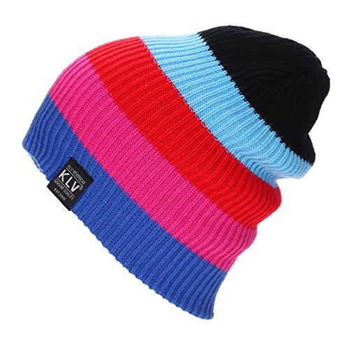 Herren Damen Beanie Strickmütze Wintermütze - Juleya Warm Slouch Beanie Long Regenbogenfarbe Mütze für den Outdoor-Sport Skifahren 7 Farben