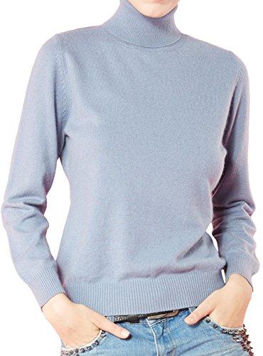 LongMing Damen 100% Kaschmir Pullover for Winter lange Ärmel Hoher Hals und  Figur Schmeichelnde Casual 7a0266f169