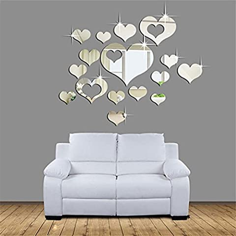 Indexp 15 Pcs 3D Removable Mirror Heart Wall Sticker Vinyl Art Home Room Decors Decals(40x60cm)