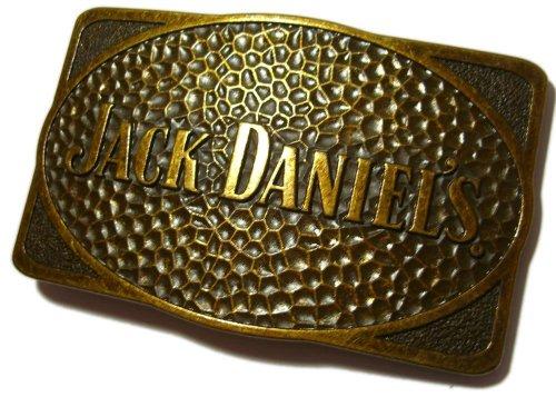 Preisvergleich Produktbild JACK DANIEL'S 'OLD BRASS' RECTANGLE Offiziell Lizenzierte Gürtelschnalle + Präsentierständer