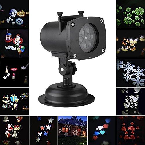 Resonanzen LED Landschaft Lampe von Beleuchtung Lichter Deko Weihnachten Urlaub im Freien wasserdicht Lampe Outdoor Lamp 12Modelle Kürbis Gespenst Herz Schneeflocke 12Gläser austauschbar.
