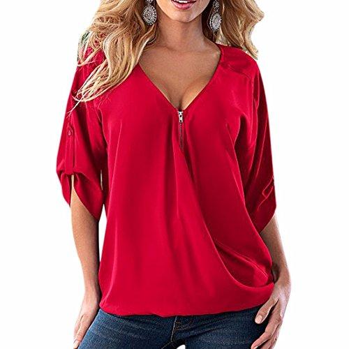 Women V Neck Half Sleeve Casual Summer Loose Roll-Up Zipper Tops Blouse Shirt