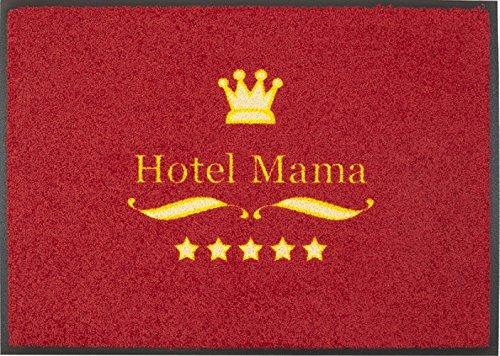 Fußmatte / Fussmatte / Fussabstreifer / Fussabtreter / Sauberlaufmatte / Türfussmatte / Türmatte / Schmutzfangmatte / Matte / Schmutzmatte / Abstreifer / Schuhmatte / Schuhabtreter / Modell Hotel Mama - rot - Angenehmes Laufgefühl / flexibel einsetzbar / Rutschfest / Größe ca. 50 x 70 cm / repräsentative Fußmatte für Eingangsbereiche / ideal auch für Ihre Terasse / Erleben Sie EasyClean Matten in Ihrer ganzen Vielfalt ! Die Easy Clean Matten sind waschbar bei 40° C. und trocknergeeignet.