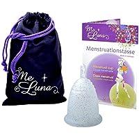 Me Luna Coupe menstruelle Classic, manche, bleu/paillettes, Taille L