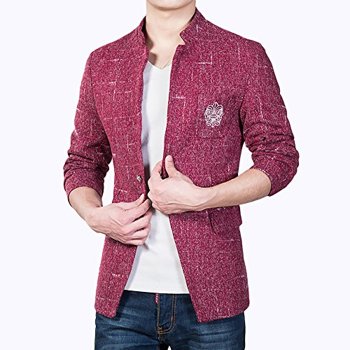 Herren Freizeit Causual Tweed Blazer Sakko Business Hochzeit Slim Fit 1  Knopf Kurzmantel Rot ...