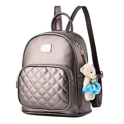 Mini Babala Damen Vintage PU Leder Rucksack Schultasche Daypacks Outdoor Umhängetasch Casual Wasserdichte Rucksack für Frauen, bronze