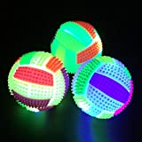 Catkoo Hundespielzeug, Hundespielzeug, Hundezubehör, Kauspielzeug, blinkende Fußball-Form, mit LED-Licht, lustiges Spielzeug für Kinder
