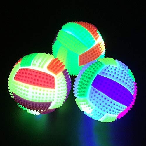 Bbl345dLlo Hundespielzeug Ball, Blinkender Fußball-Form, mit LED-Licht und Sprungball, lustiges Spielzeug, zufällige Farbe