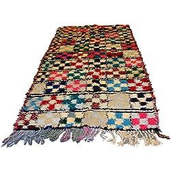 Marroquí hecha a mano multicolor cuadrados Patchwork alfombra Bereber Boucherouite Vintage Tribal Carpet 2.36x 1.11m