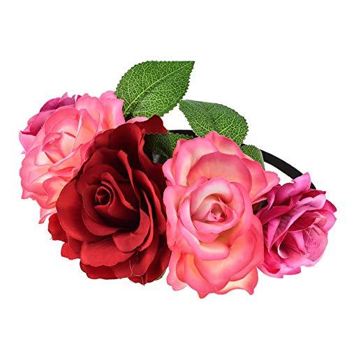 Gespout Gummiband Rose Blume Stirnband Hochzeit Haarkranz Krone Frauen Mädchen Blumenkranz Haare mit Justierbaren für Hochzeit Party Festivals Crown Floral Kopf Kranz Zubehör Hochzeit Festival