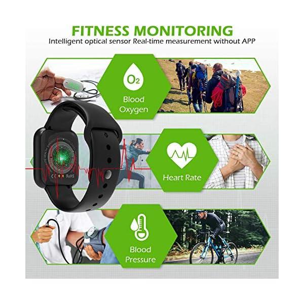 Smartwatch Reloj Resistente Hombre Mujer Niños Monitor Pulso Cardiaco Pulsera Actividad Reloj Inteligente Cardio Podómetro Bluetooth Reloj Deportivo Rastreadores Cronómetro para Android iOS(Negro) 3