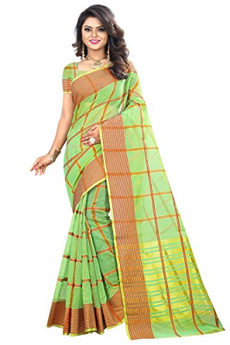 J B Fashion Women's Cotton Jaqard Green color Saree for women With...