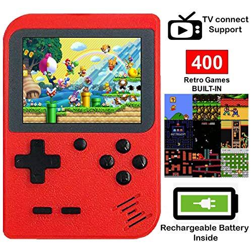 DigitCont Consoles De Jeux Portable Retro FC avec 1 Joystick PCS Games Console avec 3 Pouces 3 inch LCD Écran 400 Jeux Classiques pour Deux Joueur pour Les Enfants, Les Amis et Les Famille Rouge